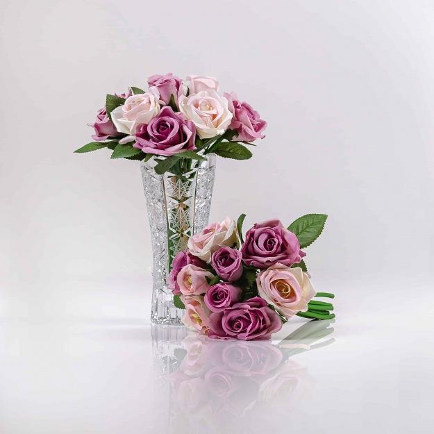 Umelá kytička ruží TERÉZIA ružovo-fialová