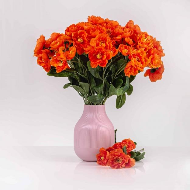 Umělý mák ROZÁLIE oranžový. Cena uvedena za 1 kus.