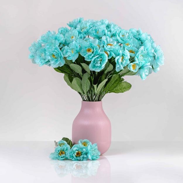 Umelý mak ROZÁLIA tiffany-modrý. Cena uvedená za 1 kus.