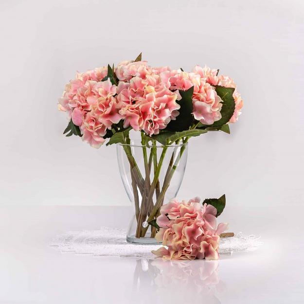 Umelá hortenzia EVA bielo-ružová. Cena uvedená za 1 kus.