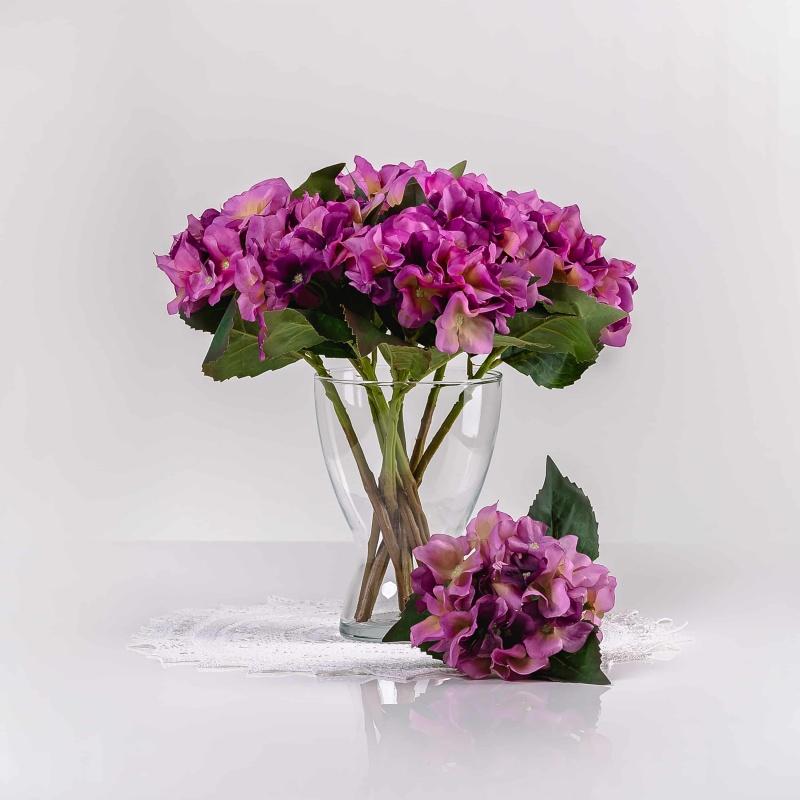 Umělá hortenzie EVA fialová. Cena uvedena za 1 kus.