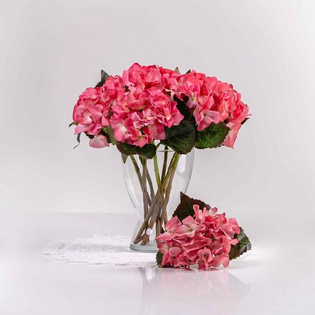 Umelá hortenzia EVA ružová. Cena uvedená za 1 kus.