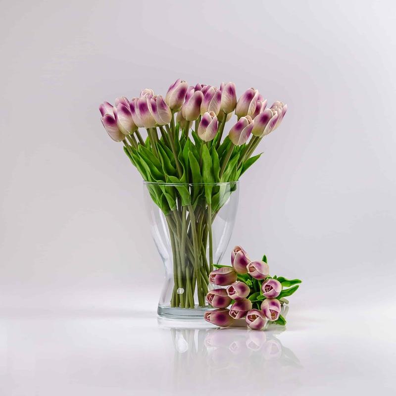 Umělý tulipán IVONA fialově-bílý. Cena uvedena za 1 kus.