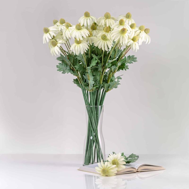 Umelá echinacea LUCIA biela. Cena uvedená za 1 kus.