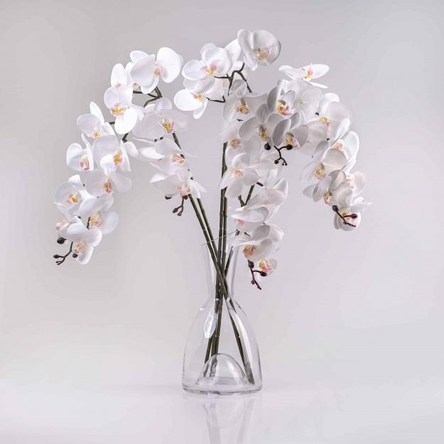 Umělá orchidea KLAUDIE bílá. Cena uvedena za 1 kus.