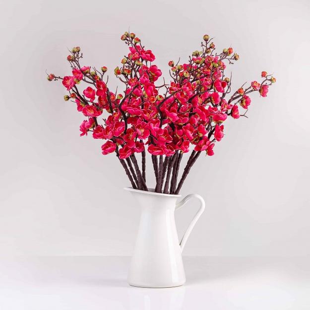 Umelá vetvička IVETA ružovo-červená. Cena uvedená za 1 kus.