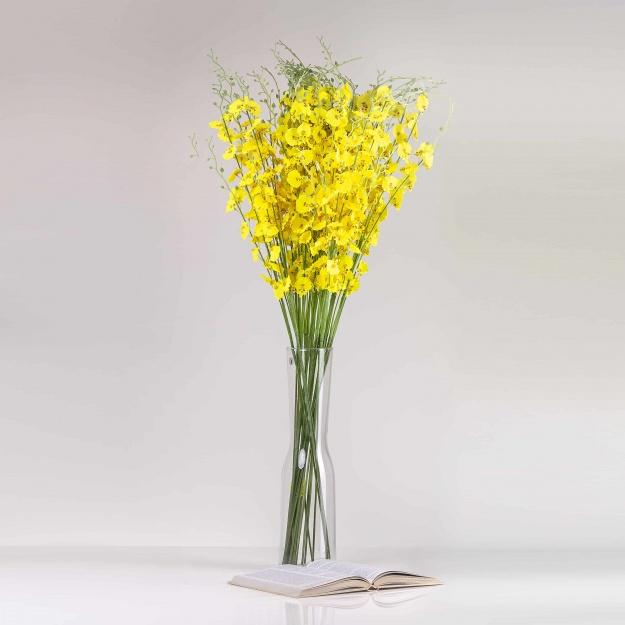 Umelá orchidea JÚLIA žltá. Cena je uvedená za1 kus.