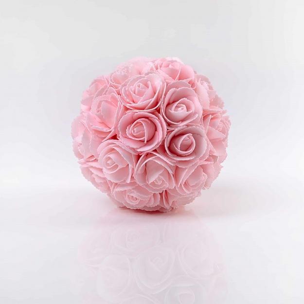 Dekoračná guľa z ruží LINDA, ružová. Cena uvedená za 1 kus.
