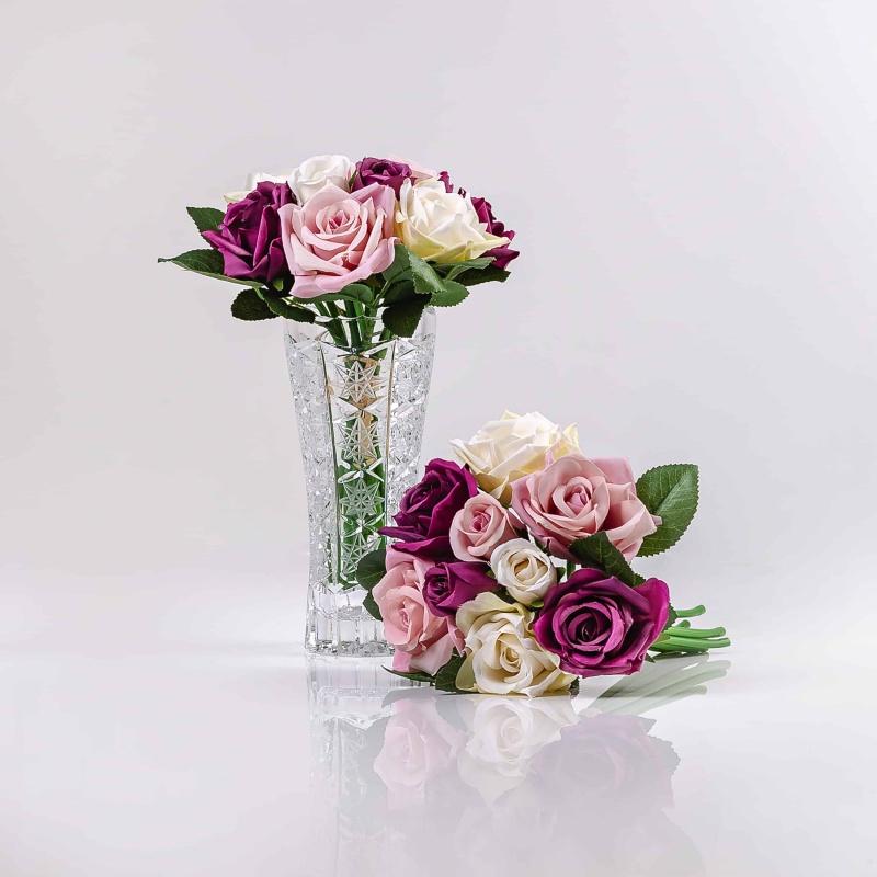 Hedvábná umělá kytička z růží TEREZIE mix