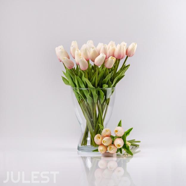 Umelý tulipán IVONA bielo-ružový. Cena uvedená za 1 kus.